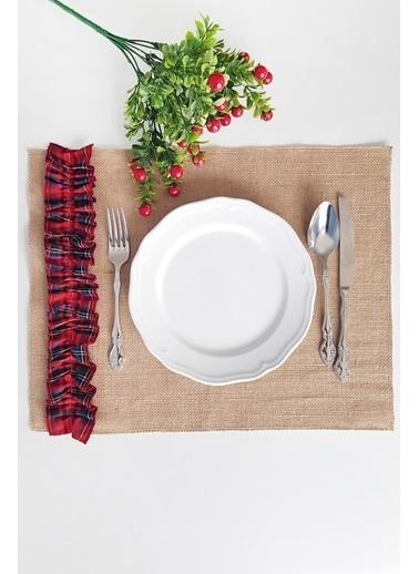 Funbou Kırmızı Ekoseli Jüt Amerikan Servis / 2 Adet Renkli